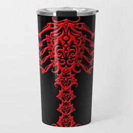 Red and Black Aggressive Tribal Scorpion Travel Mug
