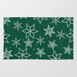 Snowflakes On Green Background Rug