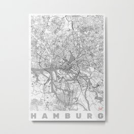 Hamburg Map Line Metal Print