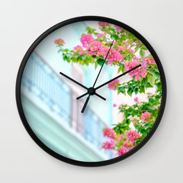 Colonial Havana Architecture with Pink Bougainvillea Wall Clock