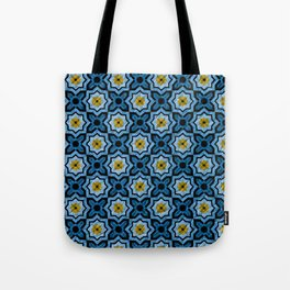 V6 Blue Traditional Moroccan Natural Leather - A4 Tote Bag