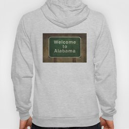 Alabama roadside sign illustration, with distressed ominous background Hoody