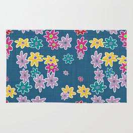 Whimsical Floral Pattern in Blue, Purple, Yellow, Pink Rug