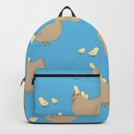 Adorable Hen and Baby Chicks Pattern Chickens with Blue Background Backpack