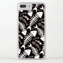 Fish Bone Black & White Clear iPhone Case