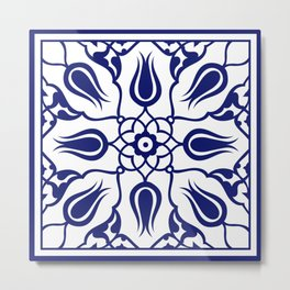 Blue Turkish Traditional Floral Tile Art Metal Print