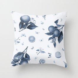 Porcelain Blue Butterflies and Citrus Throw Pillow