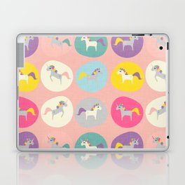 Cute Unicorn polka dots pink pastel colors and linen texture #homedecor #apparel #stationary #kids Laptop & iPad Skin