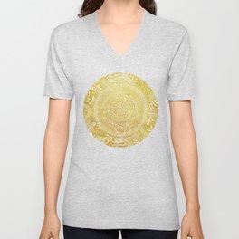 Medallion Pattern in Mustard and Cream Unisex V-Neck