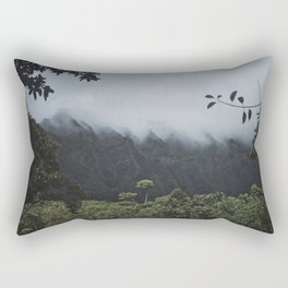 Foggy Oahu Green Rectangular Pillow