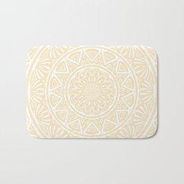 Pale Yellow Simple Simplistic Mandala Design Ethnic Tribal Pattern Bath Mat
