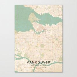 Vancouver, Canada - Vintage Map Canvas Print