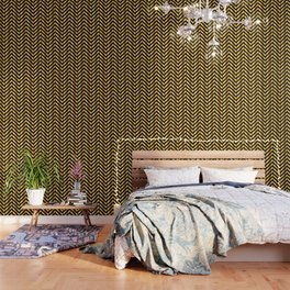 High grade raw material golden and black zigzag stripes Wallpaper