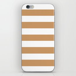 Brown Yellow -  solid color - white stripes pattern iPhone Skin