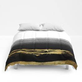 Black & Gold Stripes on White - Mix & Match with Simplicty of life Comforters