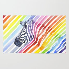 Zebra Rainbow Stripes Colorful Whimsical Animal Rug