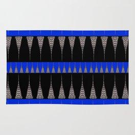 Chrysler Building Pattern in Blue and Black Rug