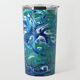 Aquamarine Abstract Artwork Travel Mug