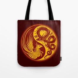 Yellow and Red Dragon Phoenix Yin Yang Tote Bag