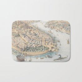 Vintage Pictorial Map of New York City (1852) Bath Mat
