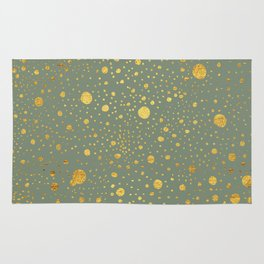 Gold leaf hand drawn dot pattern on fern green Rug