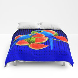 BLUE MACAWS EATING WATERMELONS ON ROYAL BLUE Comforters