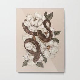 Snake and Magnolias Metal Print
