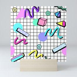 80s Retro Party Grid Design (White BG) Mini Art Print
