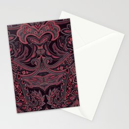Paisley 9 Red Stationery Cards