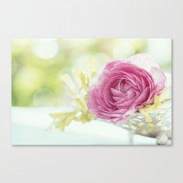 Princess like - Lightpink flower sparkling in silver bowl Stilllife Canvas Print