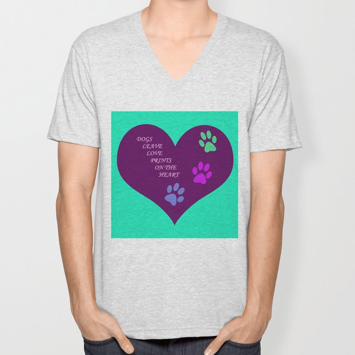 Dogs Leave Love Prints On The Heart By Annie Zeno  Unisex V-Neck