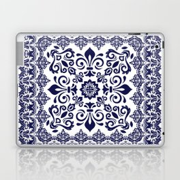 Oriental Damask blue on white Laptop & iPad Skin