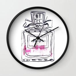 Pink Perfume fashion art illustration Wall Clock