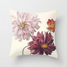 Dahila's - Botanical Illustration Throw Pillow