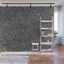 Black and faux silver swirls doodles Wall Mural