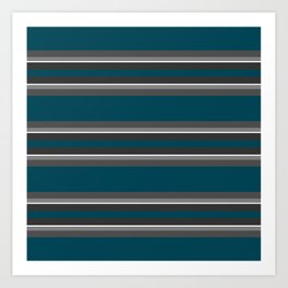 Striped turquoise and gray background Art Print