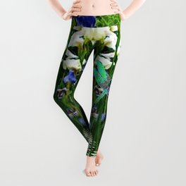 TURQUOISE DRAGONFLIES IRIS WATER REFLECTIONS Leggings
