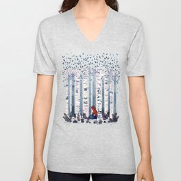 The Birches (in Blue) Unisex V-Neck