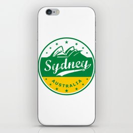 Sydney City, Australia, circle, green yellow iPhone Skin