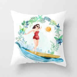 Riding with my surfboard.... Surfboard, surfboard Throw Pillow
