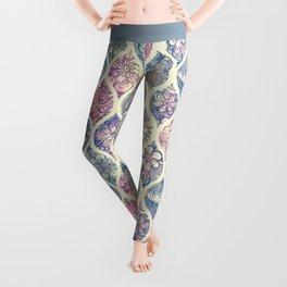 Patterned & Painted Floral Ogee in Vintage Tones Leggings