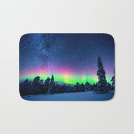 Aurora Borealis Over Wintry Mountains Bath Mat