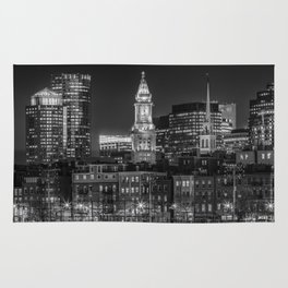 BOSTON Evening Skyline of North End & Financial District | Monochrome Rug