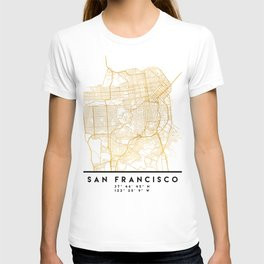 SAN FRANCISCO CALIFORNIA CITY STREET MAP ART T-shirt
