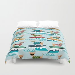 chihuahua pattern surfing cute pet gifts dog lovers chihuahuas Duvet Cover