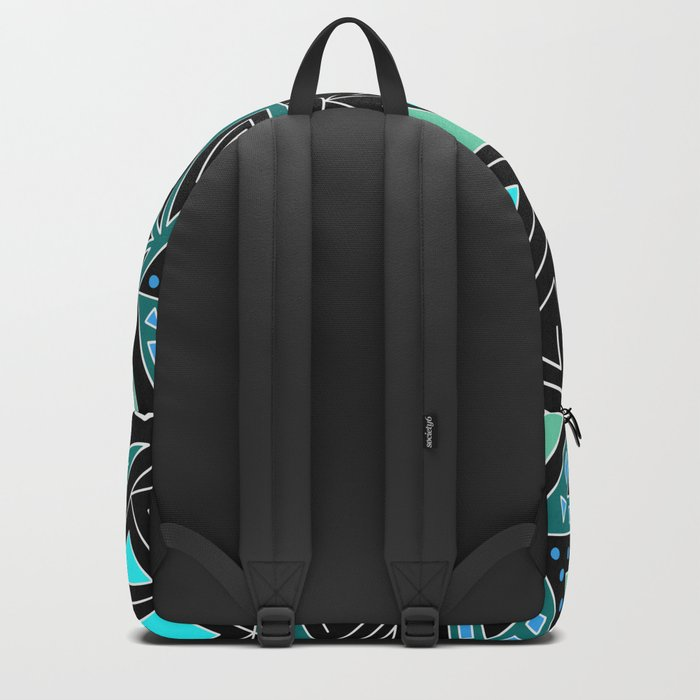 Ethnic pattern in blue turquoise tones on a black background . Backpack