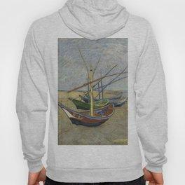 """Vincent Van Gogh """"Fishing boats on the Beach at Les Saintes-Maries-de-la-Mer"""" Hoody"""