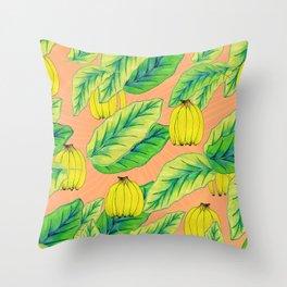 Banana Jungle - Peach Throw Pillow