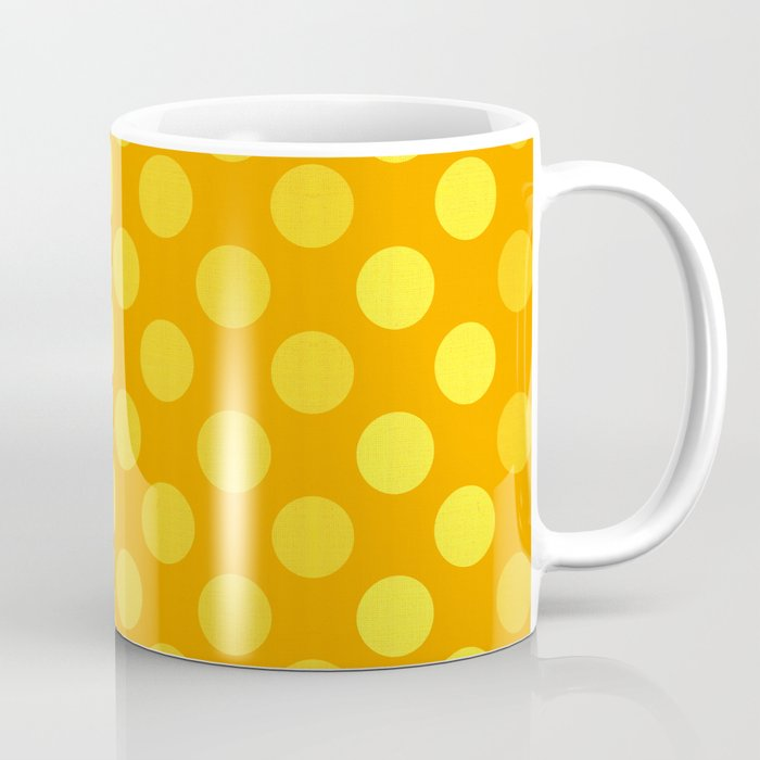 """Yellow & Ocher Burlap Texture & Polka Dots"" Coffee Mug"