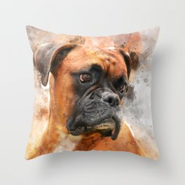 Boxer Dog Thinking Throw Pillow